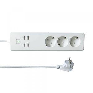 WOOX-R4026 WIFI ÄLYJATKOJOHTO 1,8M, 3 PISTORASIAA JA 4 X USB